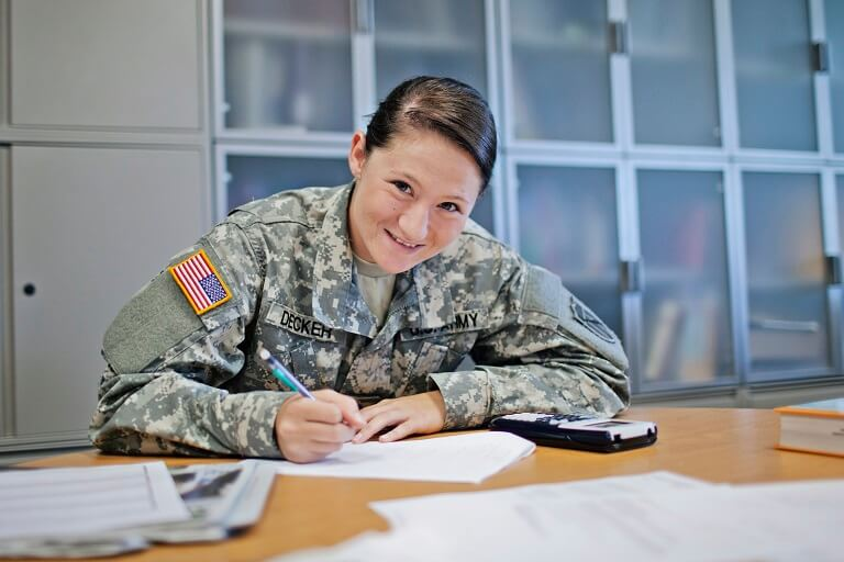 veteran woman studying